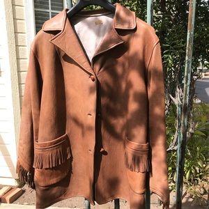 Vintage 1920's Buck Skin Fringed Western Coat Sz S